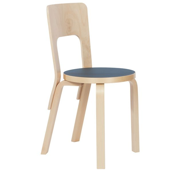 Aalto chair 66, blue linoleum, by Artek.