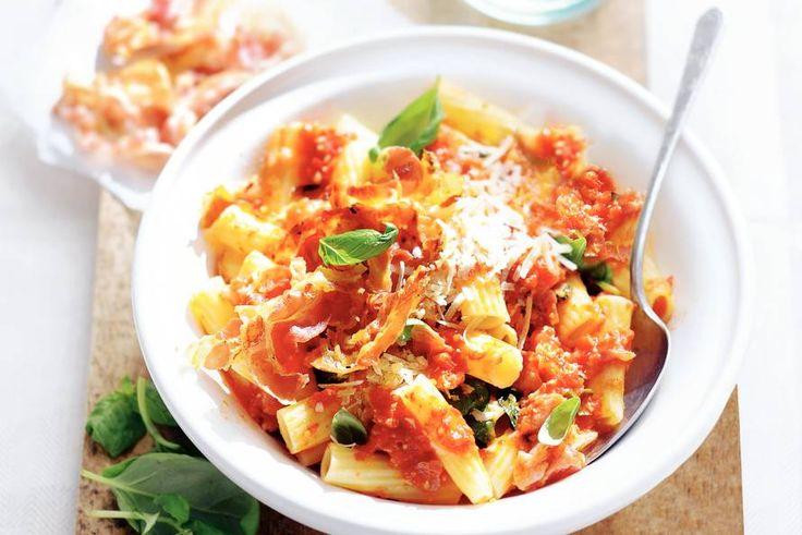 Kijk wat een lekker recept ik heb gevonden op Allerhande! Trapani rigatoni met pancetta