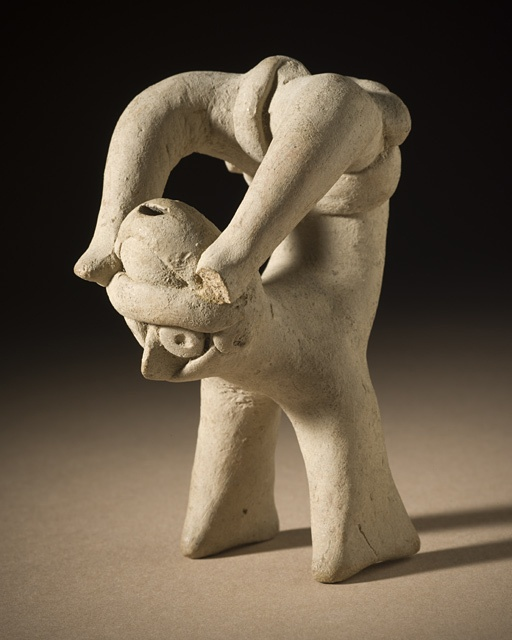 Mexico, Colima Acrobat, 200 B.C. - A.D. 500 Sculpture, Buff ceramic, 3 1/2 x 1 3/4 x 2 1/2 in. (8.89 x 4.45 x 6.35 cm)  The Proctor Stafford Collection, purchased with funds provided by Mr. and Mrs. Allan C. Balch (M.86.296.137)  Latin American Art: Ancient Americas Department