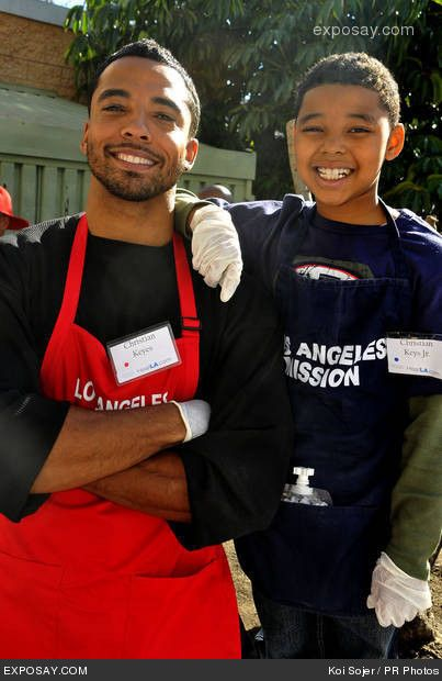 Christian Keyes and his son  Good cause Mission!! I like the Acorn cut! :-)