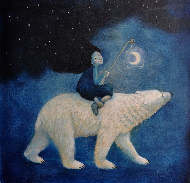 northern light (by Lucy Campbell) [moon] [polar bear]