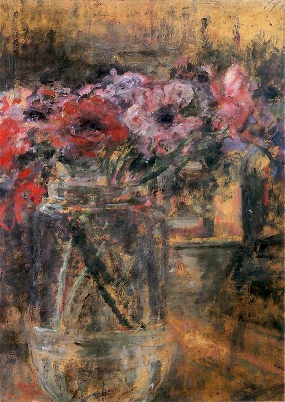 Polish Artist Olga Boznańska, Anemony 1901. Olej na tekturze. 49 x 36 cm. Muzeum Narodowe w Warszawie.