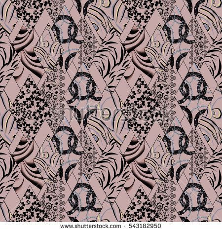 Patchwork abstract seamless floral, pattern texture brown background with decorative elements.