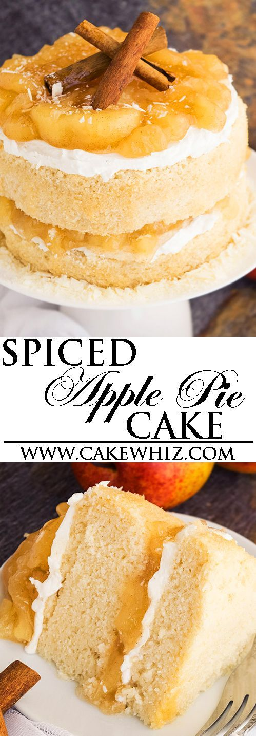This APPLE PIE CAKE recipe from scratch is packed with cinnamon, apple pie filling and buttercream frosting. It's soft, moist and perfect for Fall and Thanksgiving parties! From cakewhiz.com