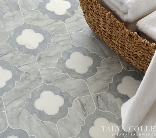 beautiful bathroom tile would go super well with the pale grey or aqua walls i