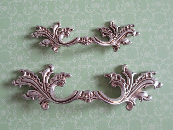 Shabby Chic Dresser Pull Drawer Pulls Door Handles Antique Silver French  Country Vintage Furniture Cabinet Knobs