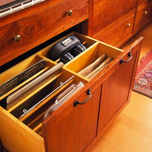 Baking Pans Organized To Easily Fit Lower Cabinet Pull Out