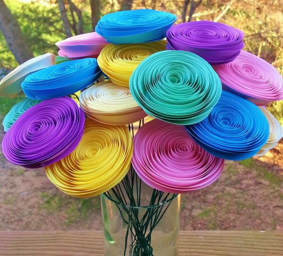 24 Pastel Paper Flowers - Handmade Rolled Paper Flower Bouquet for Brides, Weddings, Baby Showers