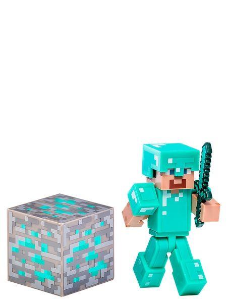 Minecraft, Timantti-Steve Anna timanttihaarniskaisen Steven suojella Minecraft-maailmaasi zombeilta ja hiipijöiltä. Sisältää rautapalikan, timanttimiekan ja päähän napsautettavan kypärän. Hahmon korkeus: 7 cm. 6–12-vuotiaille.