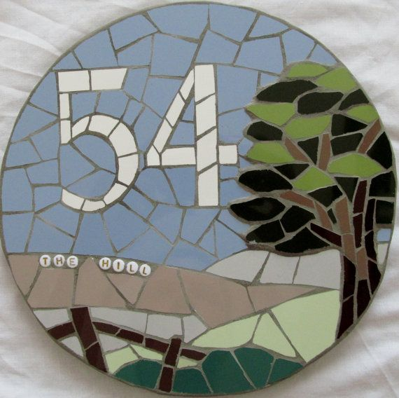Mosaic house number mosaic house sign/plaque от handmadebyhippo
