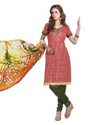 Casual Wear  Gajari Chanderi Cotton Un-Stitched Churidar Suit - 5613