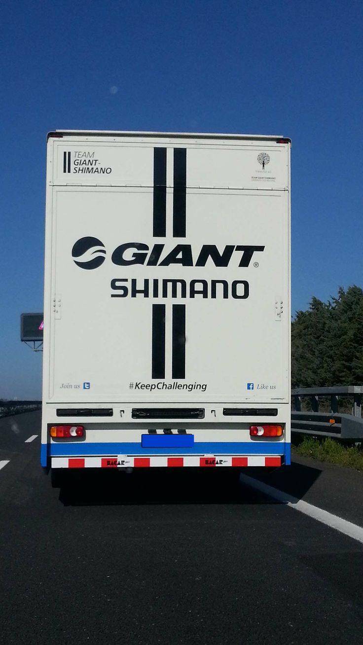 #KeepChallenging hashtag on a @ tgiantshimano truck. @Shimano #socialandthecity