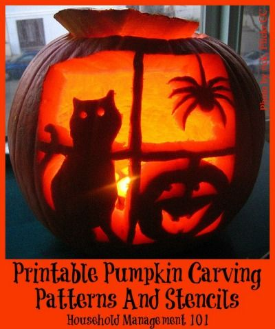 Lots of free family friendly printable pumpkin carving patterns {on Household Management 101}