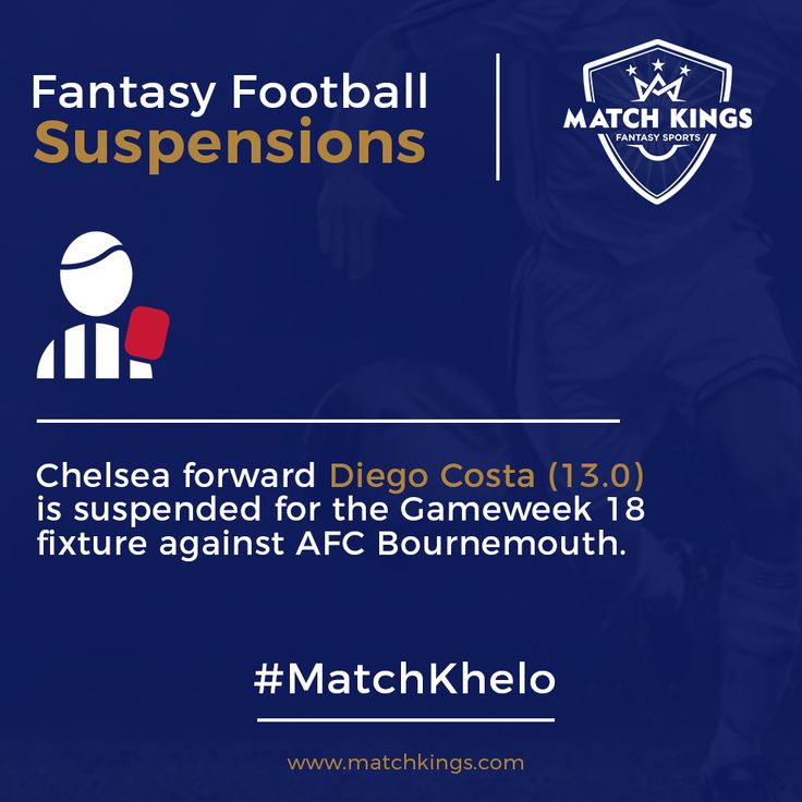 The Premier League top scorer, Chelsea's Diego Costa is suspended! Pick your Boxing Day teams wisely on www.matchkings.com! #MatchKhelo  #fantasysoccer #soccer #fantasyfootball #football #fantasysports #sports #pl #premierleague #fpl #fplindia #fantasyfootballindia #picoftheday #goal #score #stats #sportsgames #gamers #cfc #costa #chelsea #ktbffh #suspension #badnews #goal #striker