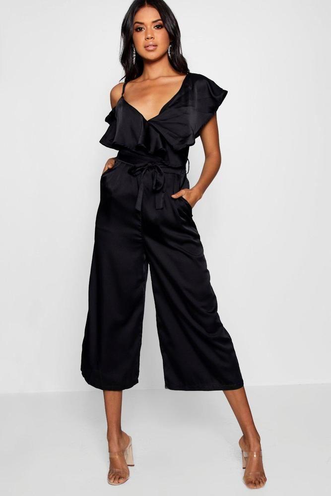 421e2e83192 Boohoo Womens Asymmetric Neckline Satin Wrap Culotte Jumpsuit  fashion   clothing  shoes  accessories  womensclothing  jumpsuitsrompers (ebay link)