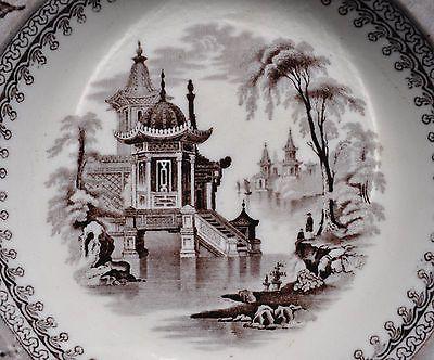 Antique Flow Black Mulberry Ironstone Soup Plate Clementson Corea Staffordshire