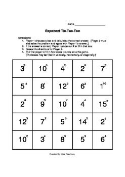 Exponent - Tic-Tac-Toe Game / Activity (math)