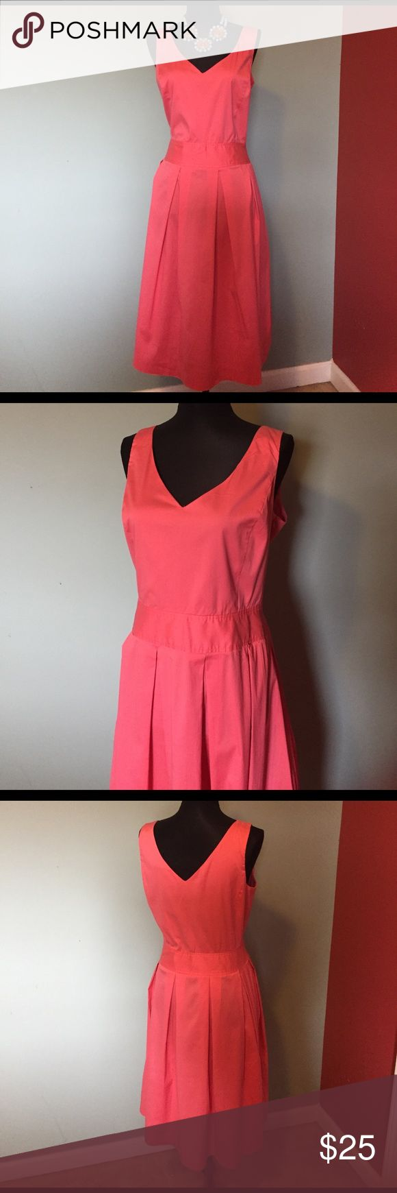 "Casual Corner coral sundress size 10. Casual Corner coral sundress size 10.  Long: 41.  20"" bust. Cotton, nylon, Spandex. Zipper on the side. Casual Corner Dresses"