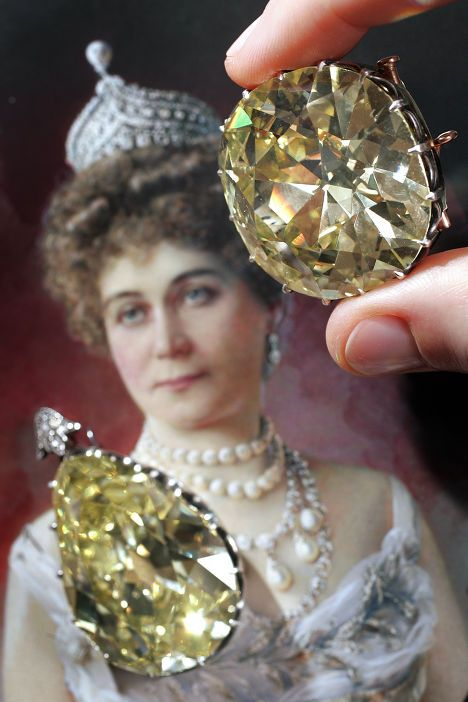 Two large yellow diamonds - a cushion-shaped diamond weighing 102.54 carats and a pear-shaped diamond weighing 82.48 carats - from the collection of Marquise de Païva, or simply la Païva, the famous 19th century courtesan.  In 2007, the diamonds were put up for auction by the marquise's heirs. Sotheby's experts appraised each diamond at 1.5–2 million euros.