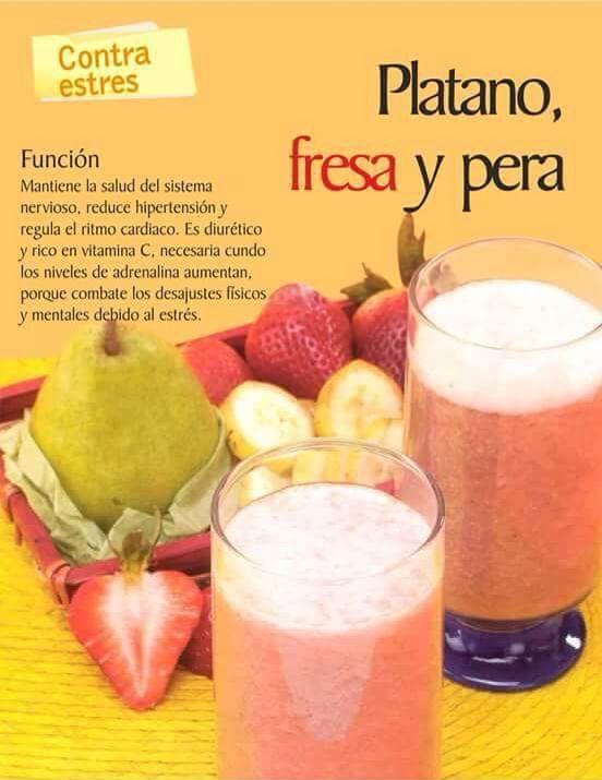 Plátano, fresa y pera