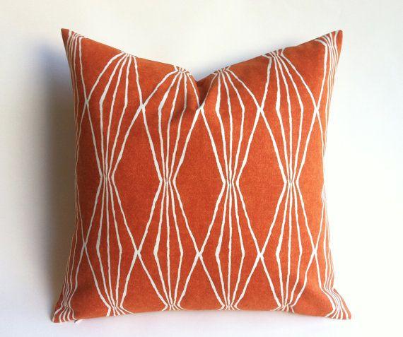 11 Sizes Available: Sweet Potato Orange Diamonds Geometric Decorative Zipper Pillow Cover 20x20 22x22 24x24 Burnt Orange Cushion cover