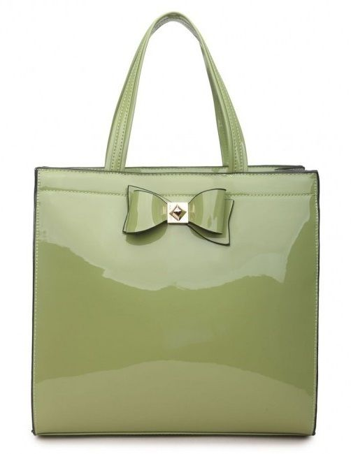 Green Patent Shopper Bag with Bow - Extra Large Size - The Handbag Hut - The latest handbag trends at prices you can't resist!