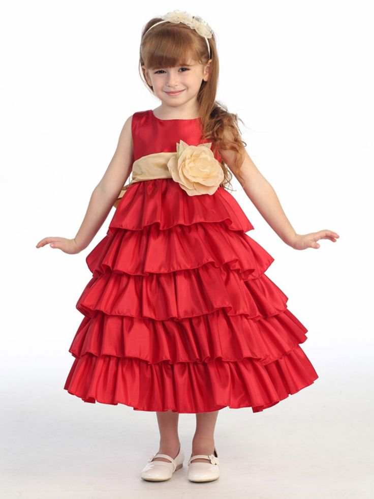 Red Taffeta Blossom Flower Girl Dress with 5 Tiers of Ruffles  Girls 12  months   Size 12   Plus Sizes. 121 best KIDS Girl Dress images on Pinterest   Flower girls  Girls