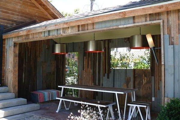 Kleinen- Garten- gestaten- Pavilion- schwarze- Eschenholz