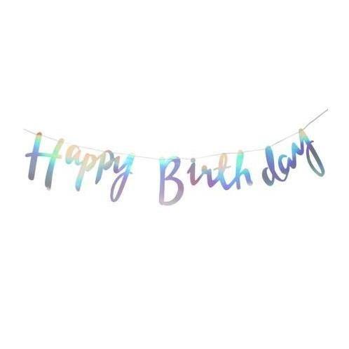Iridescent Script Happy Birthday Bunting