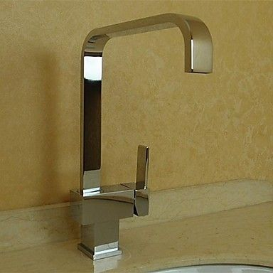 Contemporary Single Handle Brass Kitchen Tap (Chrome Finish) - Single Lever Taps - Kitchen Taps http://www.plumpinguk.co.uk/contemporary-single-handle-brass-kitchen-tap-chrome-finish-1829.html