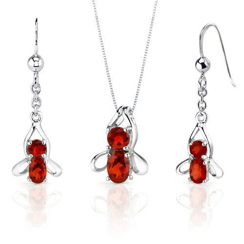 Bee Design 3.50 carats Oval Round Cut Sterling Silver Rhodium Finish Garnet Pendant Earrings Set Peora. $32.99