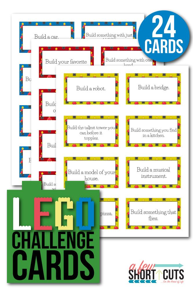 Kids getting bored? Download and Print these FREE Printable LEGO Challenge Cards and get their minds working. A fun educational activity that is also a blast for birthday parties and more!