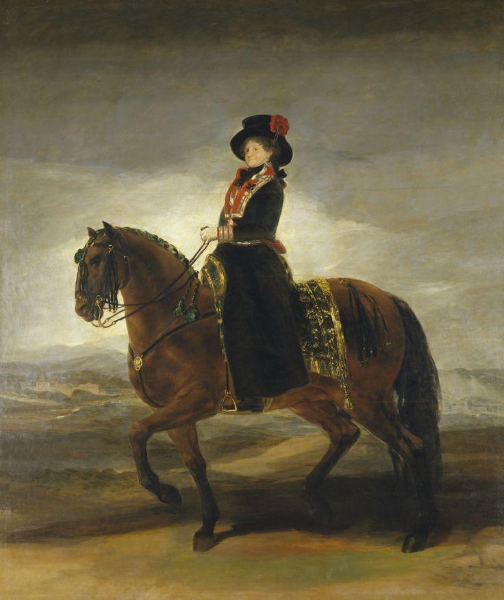 """Francisco de Goya: """"La reina María Luisa a caballo"""". Oil on canvas, 338 x 282 cm, 1799. Museo Nacional del Prado, Madrid, Spain"""