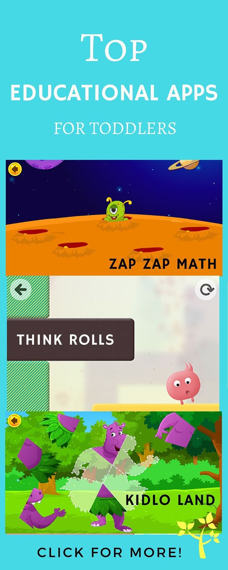 Top educational apps for toddlers, preschoolers and school-aged kids. Each of these apps support fine-motor and language development and mathematical reasoning.