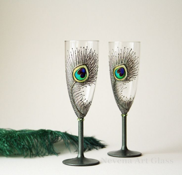 Emerald Peacock Glasses Wedding Glasses HAND by NevenaArtGlass, $52.00
