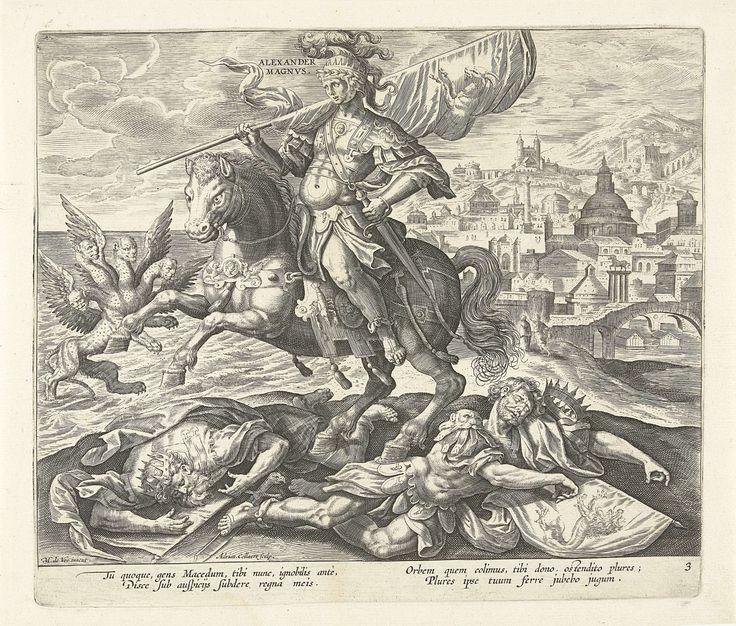 Alexander de Grote als derde koning uit het visioen van Daniël, Adriaen Collaert, Claes Jansz. Visscher (II), 1570 - 1618