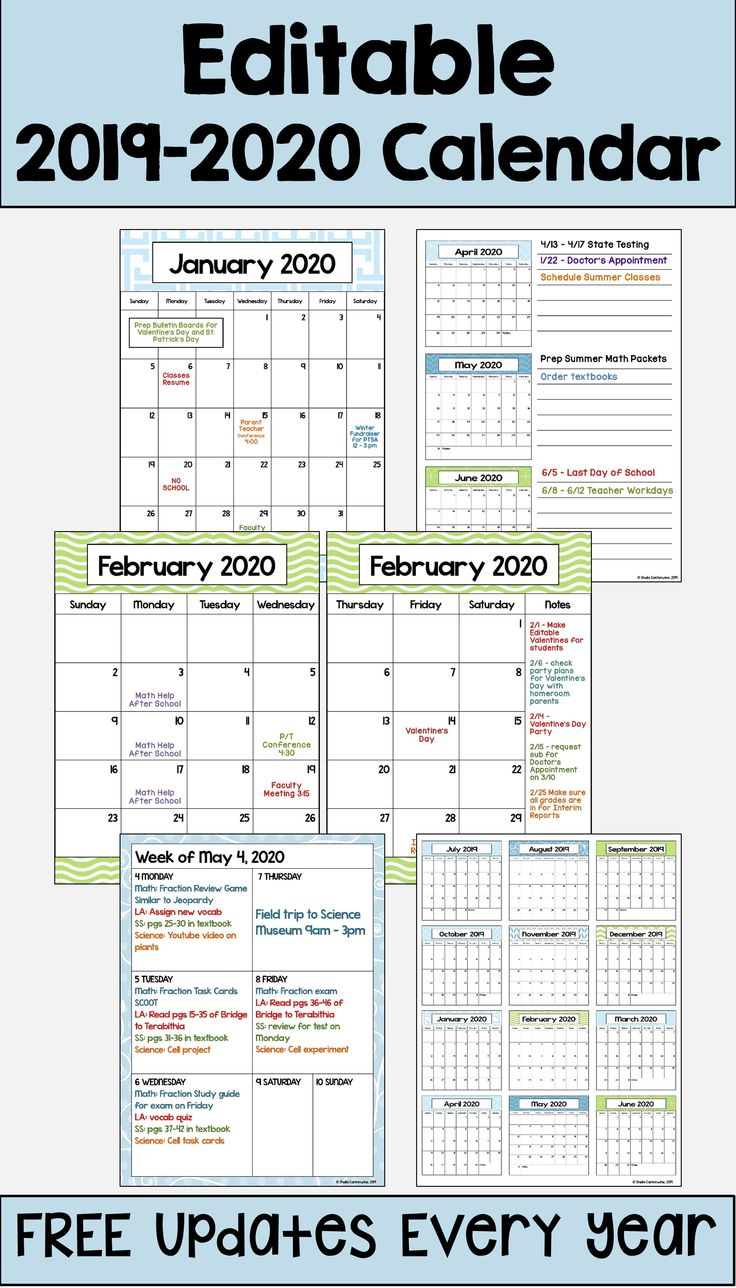 this 2019  u2013 2020 editable calendar template is printable and is perfect for teachers  students