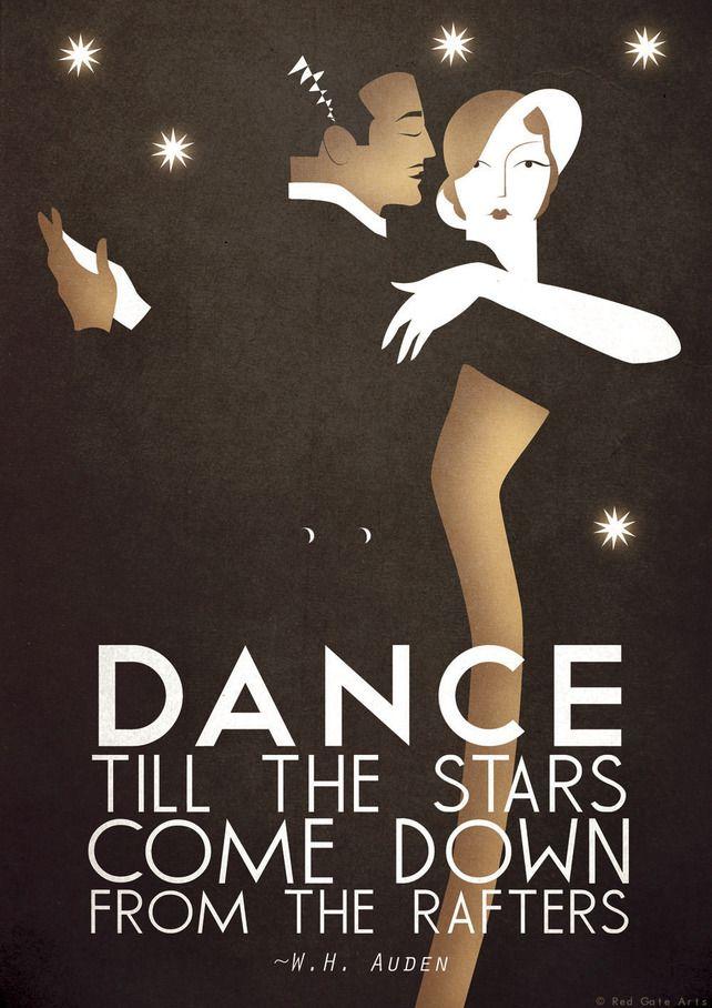 Art Deco A3 Poster Print Dance Tango, Bauhaus, Vintage, WH Auden Romantic Quote http://folksy.com/items/3630290-Art-Deco-A3-Poster-Print-Dance-Tango-Bauhaus-Vintage-WH-Auden-Romantic-Quote