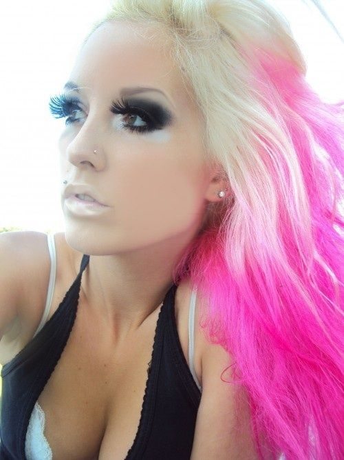 pink blond hair. love her hair and her makeup!!