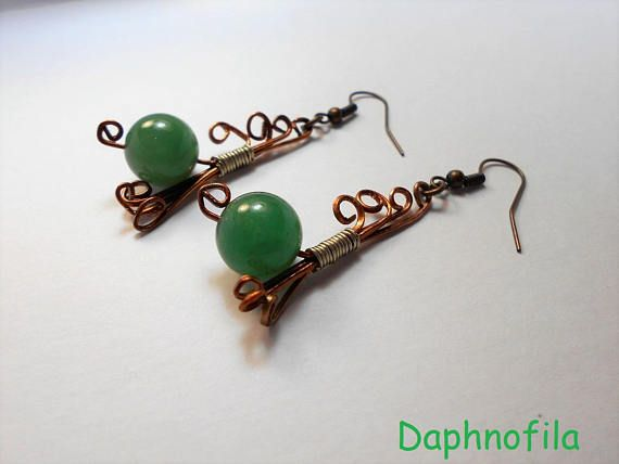 Waves in a bronze sea Daphnofila earrings Handmade jewelry