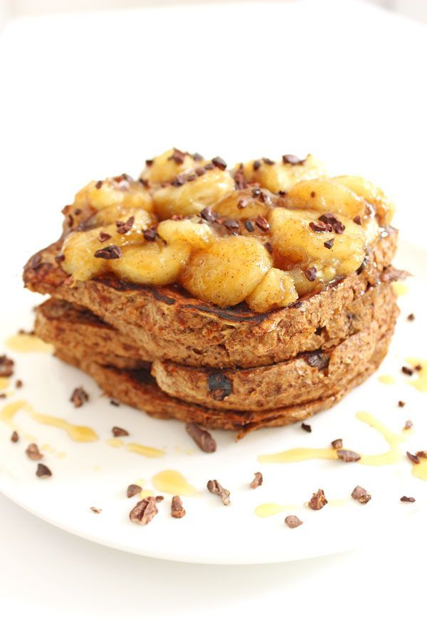 A healthy but decadent breakfast! Caramelized Banana French Toast!