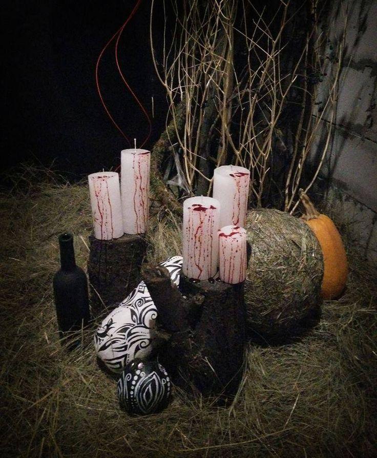 Идеи для декора на Хэллоуин-2016. В тренде - кровавые свечи, черно-белые тыквы и мох на полу | Полезные Вести | Вести