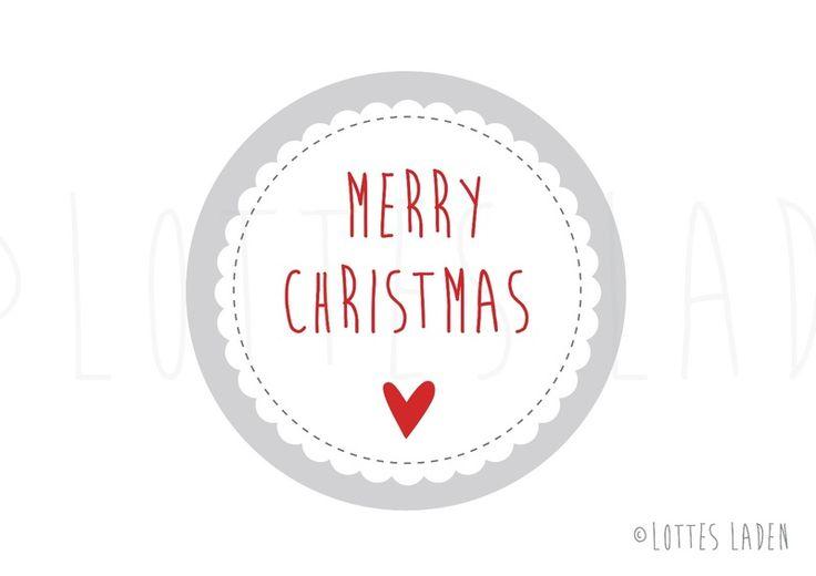 24 Weihnachtsaufkleber Sticker Merry Christmas von Lottes Laden auf DaWanda.com
