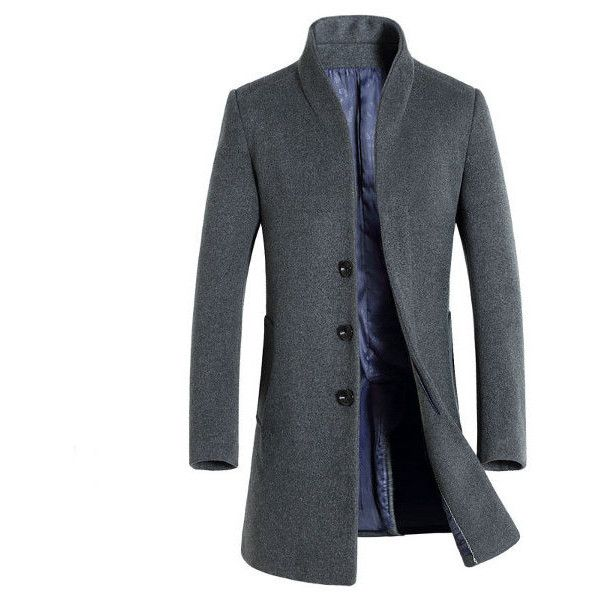 Woolen Mid-long Casual Trench Coat ($69) ❤ liked on Polyvore featuring men's fashion, men's clothing, men's outerwear, men's coats, grey, mens trench coat, mens gray pea coat, mens gray wool coat, mens slim trench coat and mens long trench coat