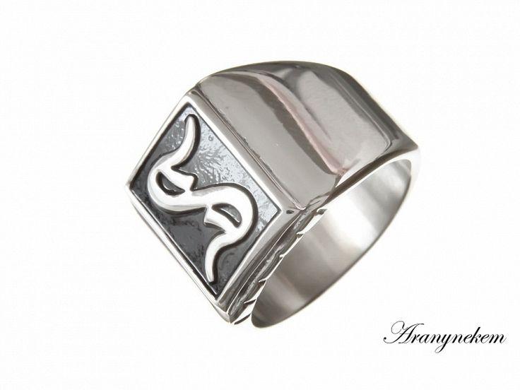 S betű motívumos nemesacél pecsétgyűrű