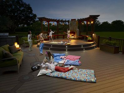 Stone fire place & Pergola: Decks Idea, Decks Projects, Outdoor Living, Decks Design, Dream House, Patio Decks, Outdoor Fireplaces, Photo, American Decks