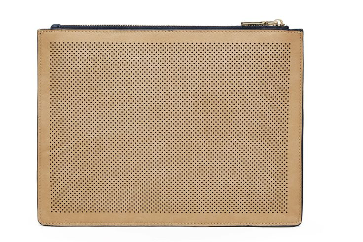 Navy & Tan Perforated Clutch - Back