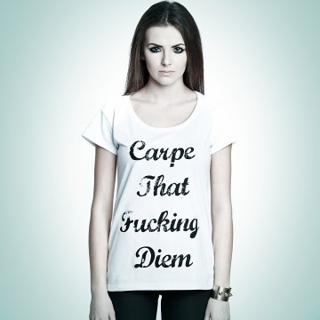 bluzki - t-shirty - damskie-T-SHIRT PORN CORN CARPE THAT Spring