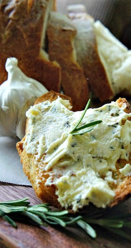 Rosemary Garlic Butter - perfect for toasted crostini, baguettes, on steaks, chops and burgers.