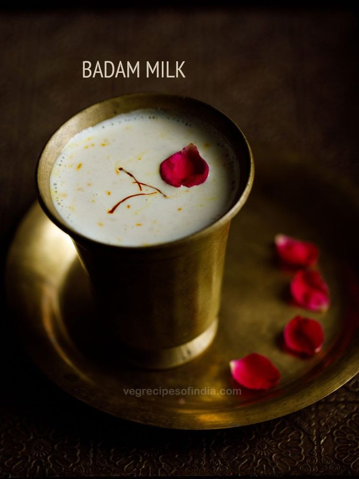 Badam Milk Recipe - Almond Milk is a sweet beverage drink from the Awadhi Cuisine. This delicious drink is flavored with ground almonds, cardamon powder and saffron.
